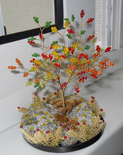 ...деревьев из бисера, а также несколько схем и идей (есть новогодняя ёлочка, яблоня, красивое осеннее дерево) .